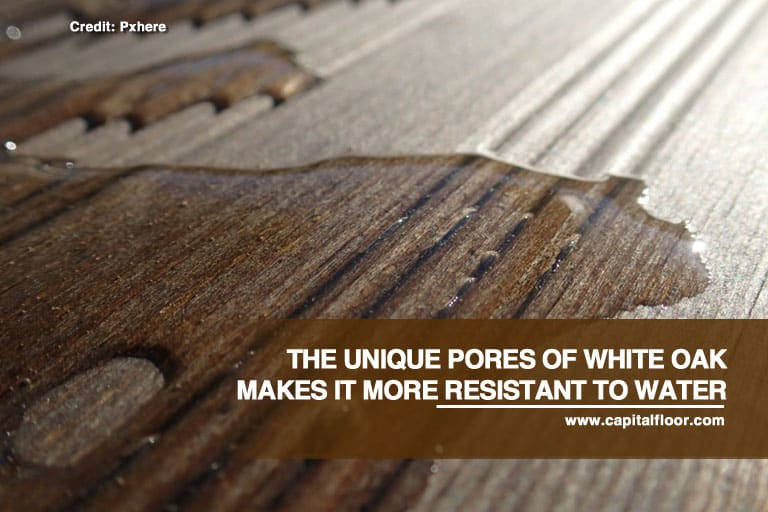 The unique pores of white oak makes it more resistant to water