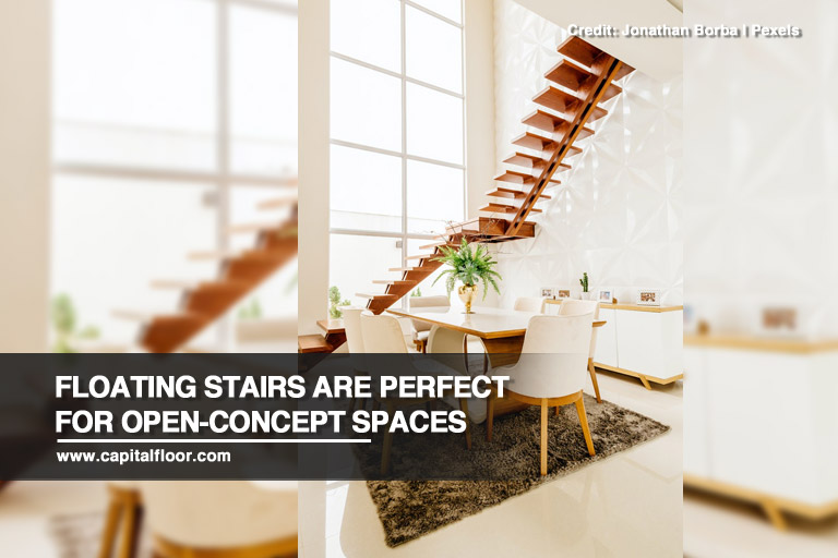 Floating stairs are perfect for open-concept spaces